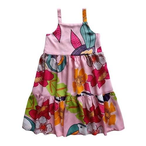 Vestido Infantil Flores - Rosa