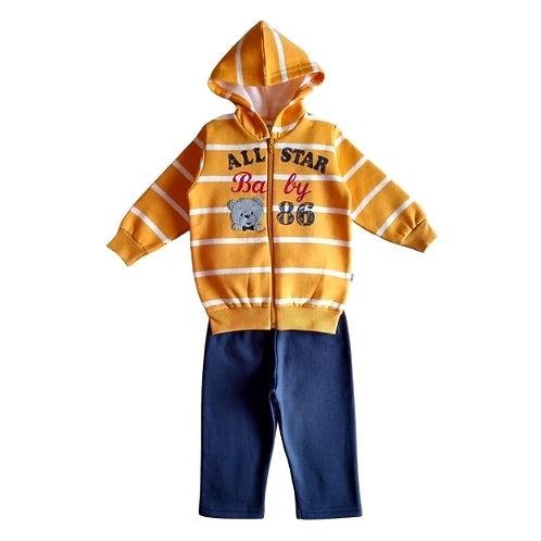 Conjunto Infantil Menino - Urso - Amarelo - Elian