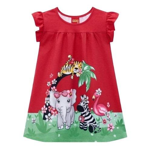 Vestido Infantil - Animais - Vermelho - Kyly