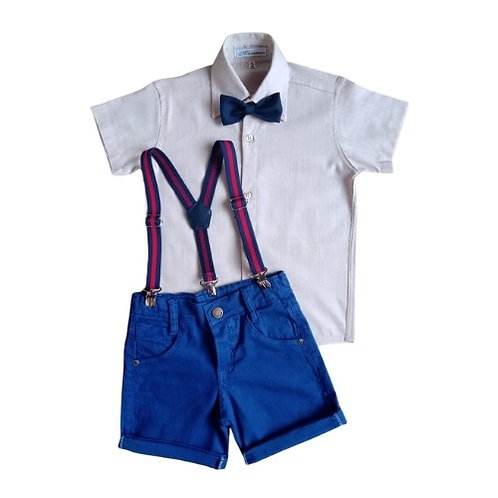 Conjunto Social Infantil Masculino - Bege Com Azul