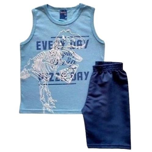 Conjunto Infantil Masculino - Dino Pizza 🍕 - Azul - WRK