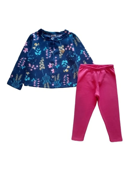 Conjunto Infantil Feminino - Floral - Azul Marinho - Elian