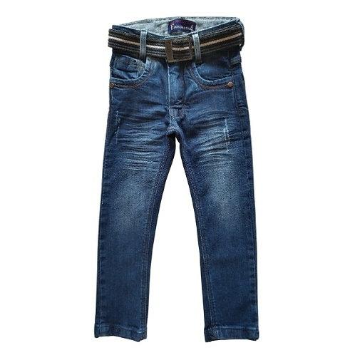 Calça Jeans Infantil Masculina -  Com Cinto - Azul