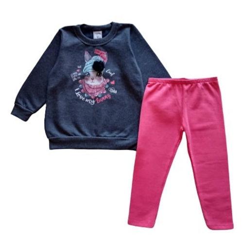 Conjunto Infantil Feminino - Coelha - Cinza - Kely Kety