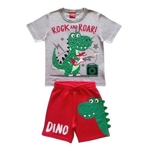 Conjunto Infantil Masculino - Dino Rock - Cinza - Kyly