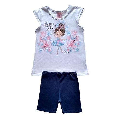 Conjunto Infantil Feminino - Bailarina - Branco - Kely Kety