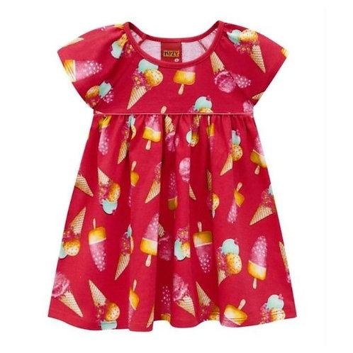 Vestido Infantil - Sorvete - Vermelho - Kyly