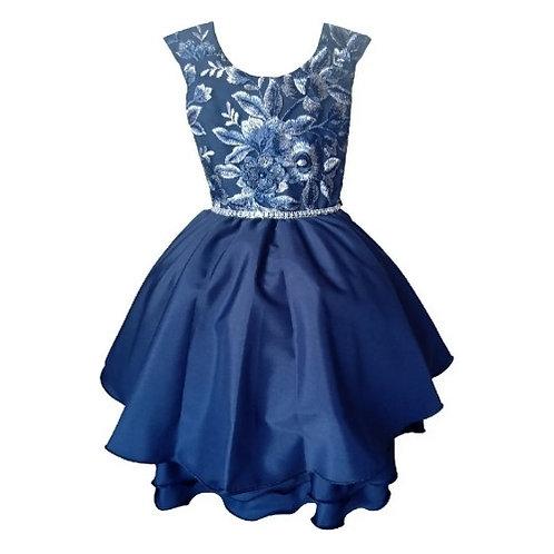 Vestido Infantil Festa - Azul Marinho