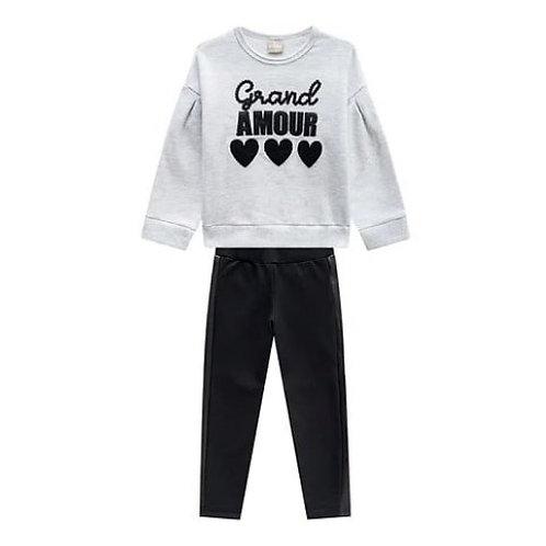 Conjunto Infantil Feminino - Grand Amour - Cinza - Milon