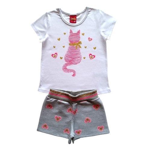 Conjunto Infantil Feminino - Cat - Branco - Kyly
