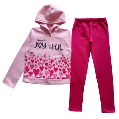 Conjunto Infantil Feminino - Coração - Rosa - Elian