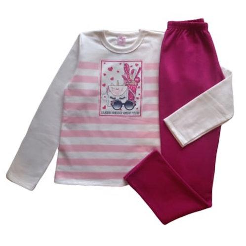 Conjunto Infantil Feminino - Fashion Unicorn - Bege - Kely Kety
