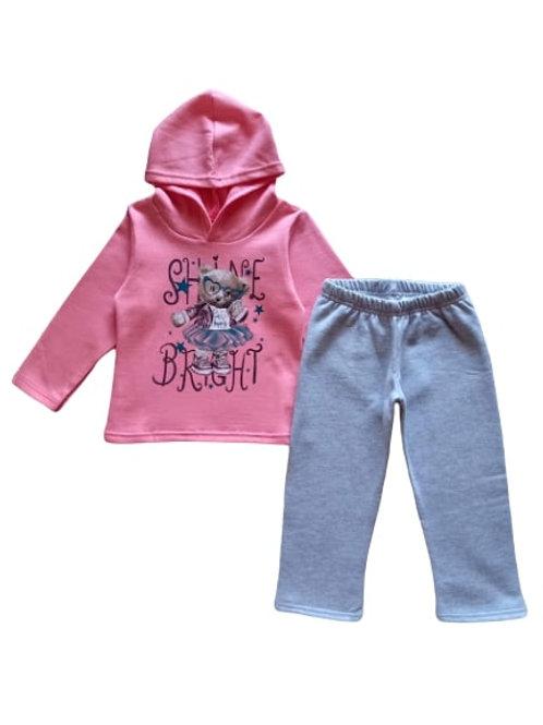 Conjunto Infantil Feminino - Urso - Rosa - Elian