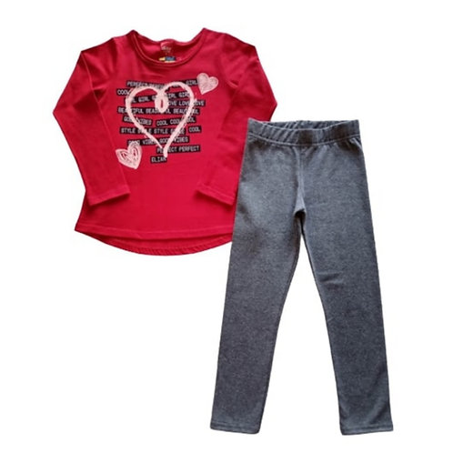 Conjunto Infantil Feminino Vermelho Elian