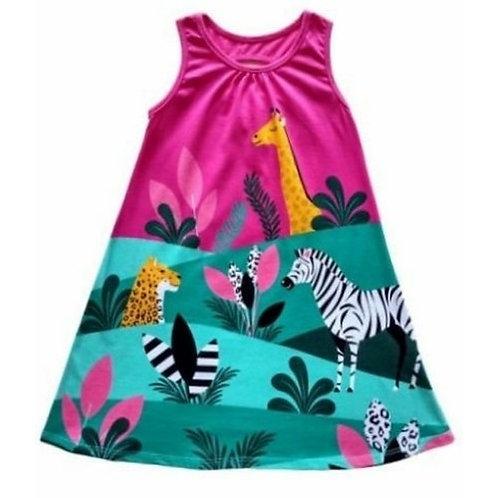 Vestido Infantil - Animais - Pink - Kyly
