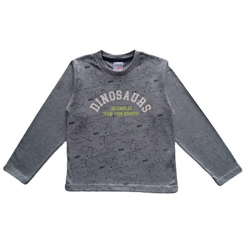 Camiseta Infantil Masculina - Dinossauros - Cinza - Zhor Kids