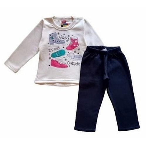 Conjunto Infantil Feminino -  Sapatos - Bege - Elian