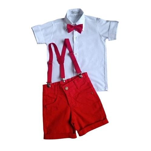 Conjunto Social Infantil Masculino - Branco Com Vermelho