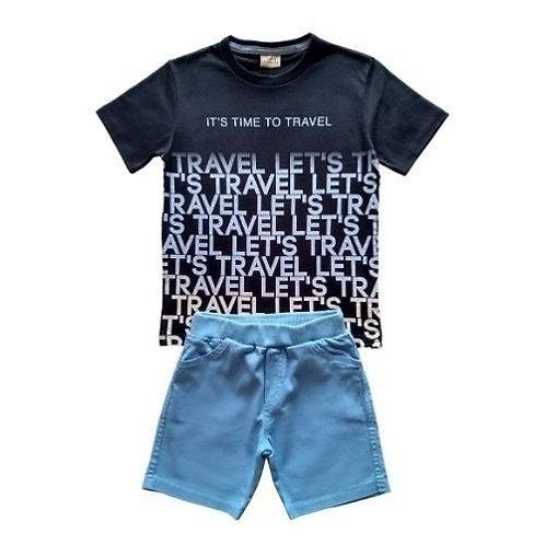 Conjunto Infantil Masculino - Let's Travel - Preto - Milon
