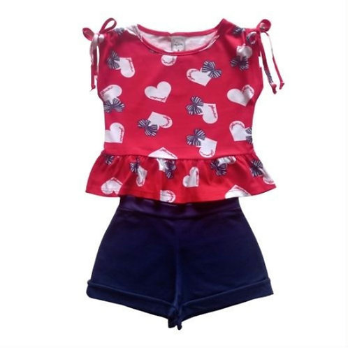 Conjunto Infantil Feminino - Coração - Vermelho - Kely Kety