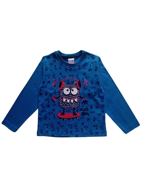 Camiseta Infantil Masculina - Skate - Azul - Zhor Kids