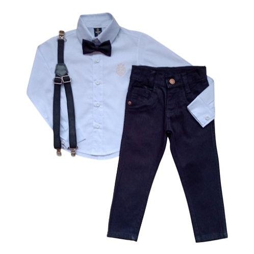 Conjunto Social Infantil Masculino - Branco Com Preto