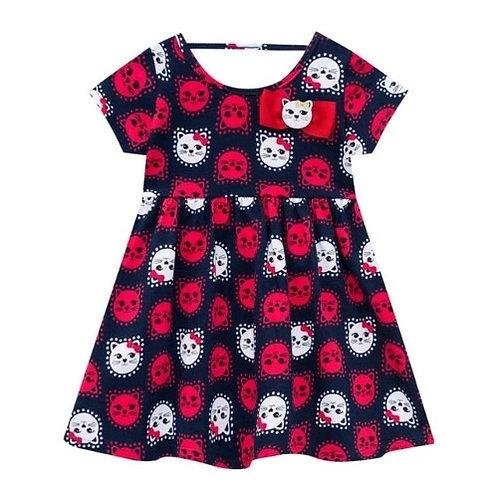 Vestido Infantil - Gatinho - Marinho - Kyly