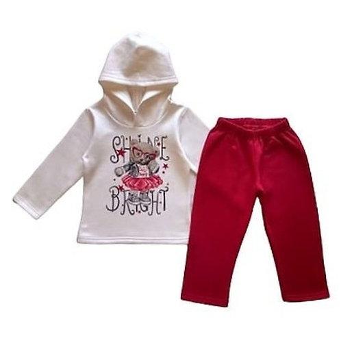 Conjunto Infantil Feminino - Urso - Bege - Elian
