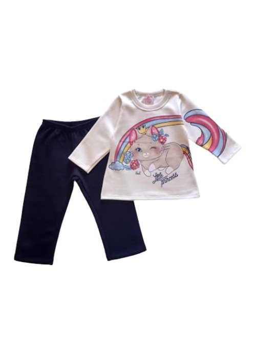 Conjunto Infantil Feminino - Princesa - Bege - Kely Kety