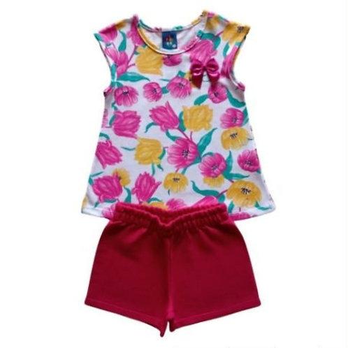 Conjunto Infantil Feminino - Flores - Branca - Pipa