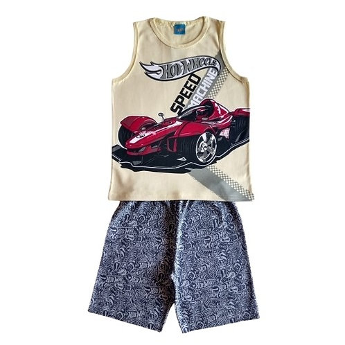 Conjunto Infantil Masculino- Hot Wheels - Amarelo - Romitex