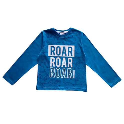 Camiseta Infantil Masculina - Roar - Azul - Zhor Kids