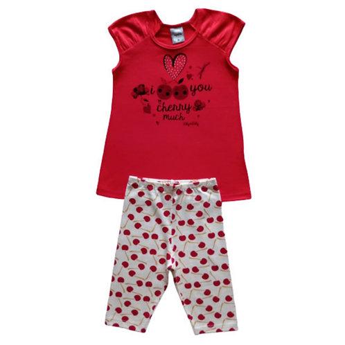 Conjunto Infantil  Feminino - Cereja - Vermelho - Kely Kety