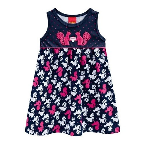 Vestido Infantil - Esquilo 🐿️ - Marinho - Kyly