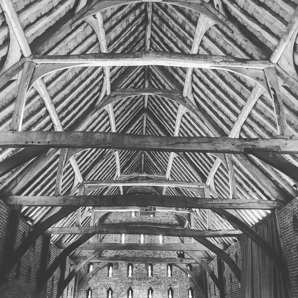 The roof of The Great Barn at Hales Hall