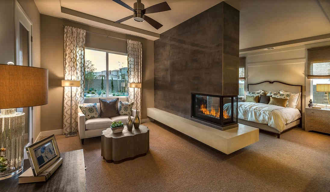 indoor corner fireplace