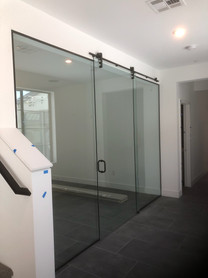 contemporary glass barn doors