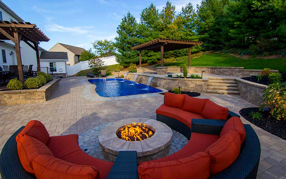 poolside fire pit