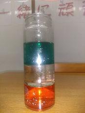 アルコールと水と油の実験