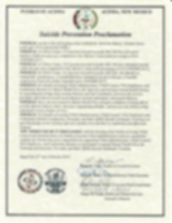 Suicide Prevention Proclamation