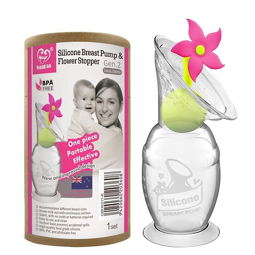 Haakaa Silicone Breast Pump & Limited Edition Pink Flower Stopper