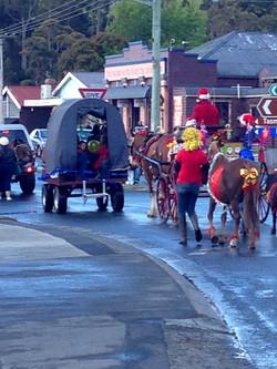 All get into the Christmas parade