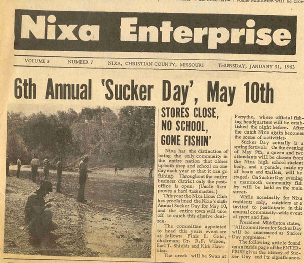 Nixa Enterprise 6th annual Sucker  Day s