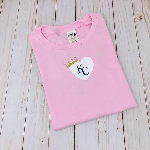 Pink KC Royal Heart with Crown - Toddler & Youth