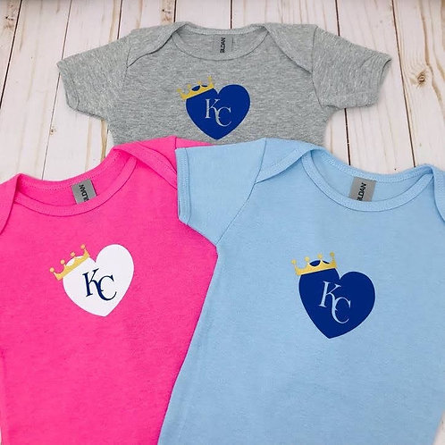 KC Royal Heart with Crown - Onesies