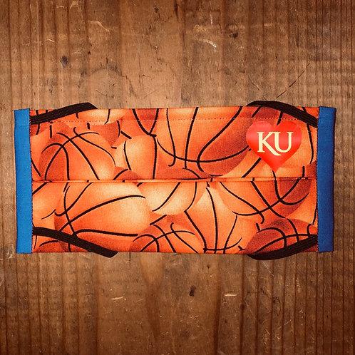 KU in heart on Basketball Print