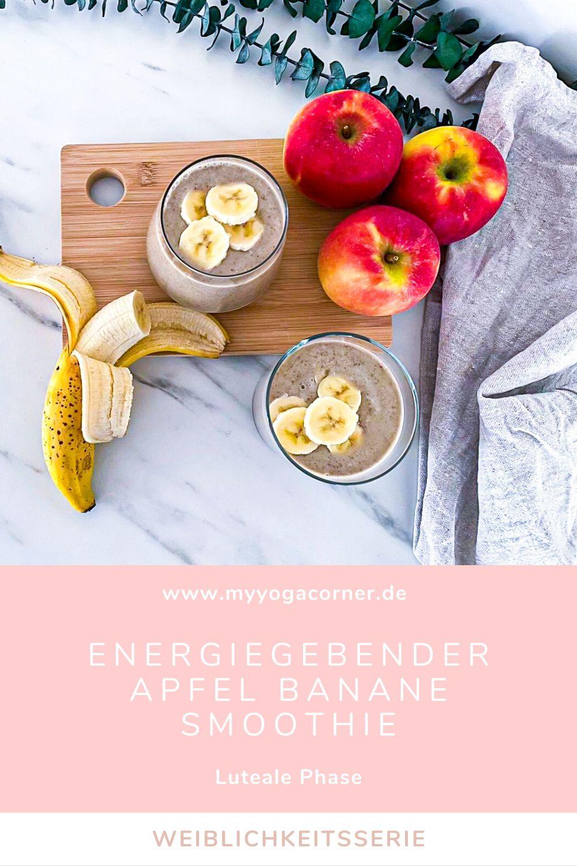 Energiegebender Apfel Bananen Smoothie - Luteale Phase Weiblichkeitsserie #weiblichkeit #smoothie #healthy #hormones #cycle #recipe #luteal #gesund #frauengesundheit #schnell #easy #abnehmen #weightloss #lowcalories #vegan #zyklus #frauen