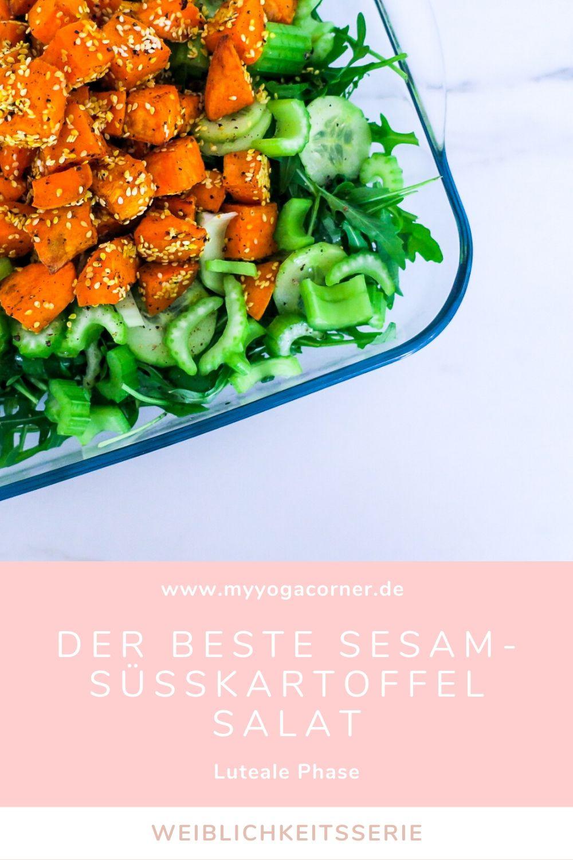 Der Beste Sesam-Süßkartoffel Salat - Luteale Phase Weiblichkeitsserie #weiblichkeit #salat #healthy #hormones #cycle #recipe #luteal #gesund #frauengesundheit #schnell #easy #abnehmen #weightloss #lowcalories #vegan #zyklus #frauen #sweetpotato