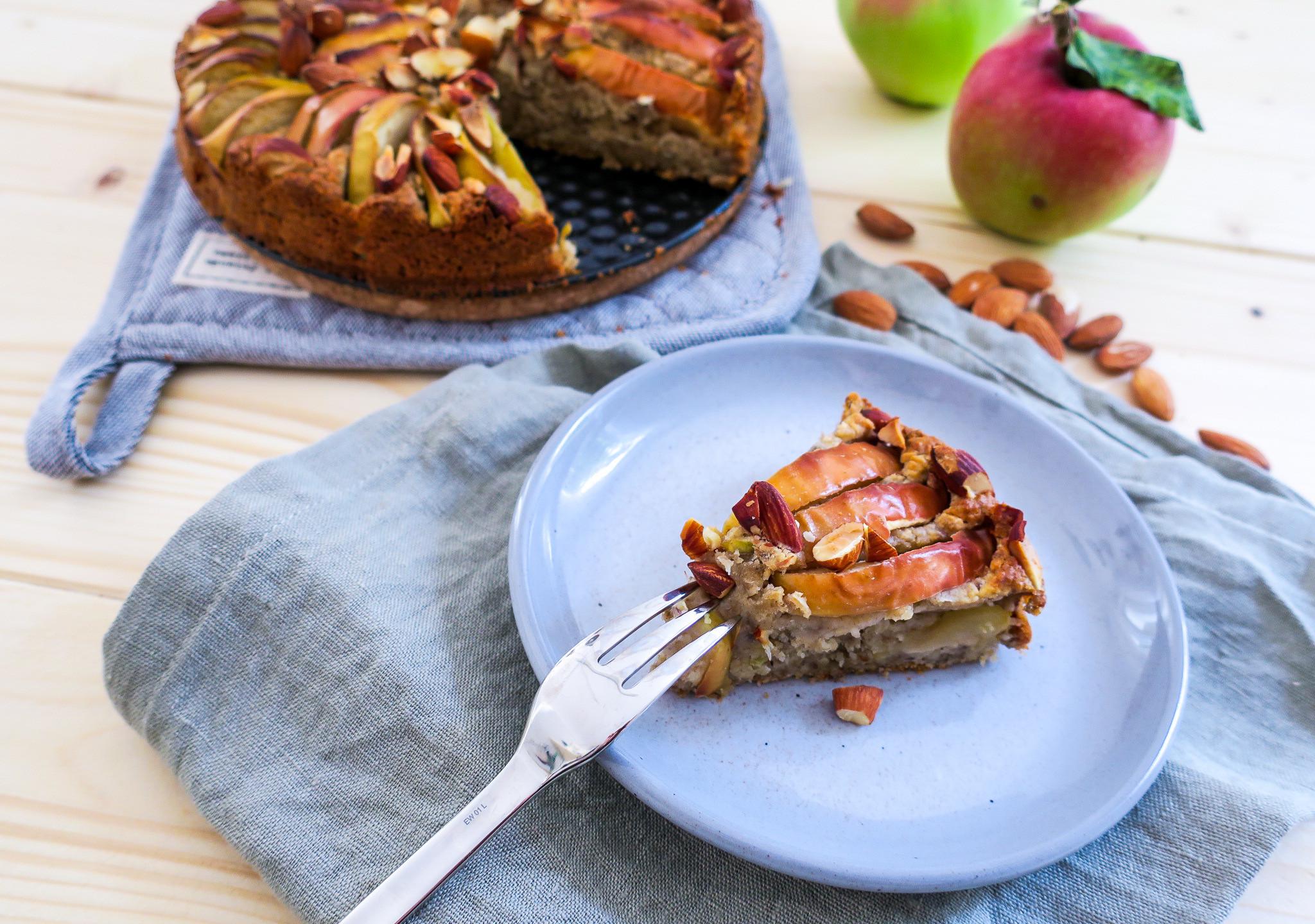 Rezept für einen gesunden veganen Apfelkuchen