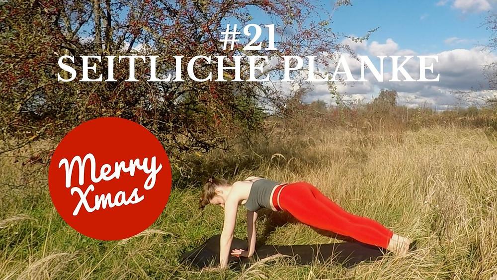 Yoga Türchen Nr. 21 Seitliche Planke - my yoga corner Adventskalender #yoga #adventskalender #yogavideo #pose #asana #core #anfänger #planke #easy #fitness #fit #healthy #workout #entspannt #power #yogini #leicht